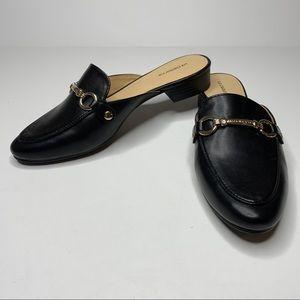 Liz Claborne Black Horsebit Loafer Mule Shoes